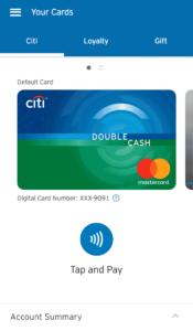 CitiPay Dashboard Screen