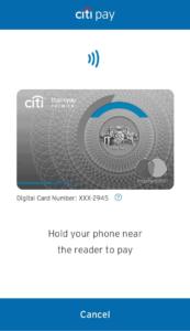 CitiPay NFC Screen
